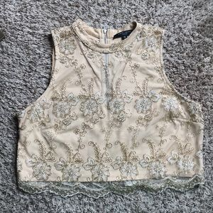 Romeo and Juliet Gold embroidered v-neck crop top